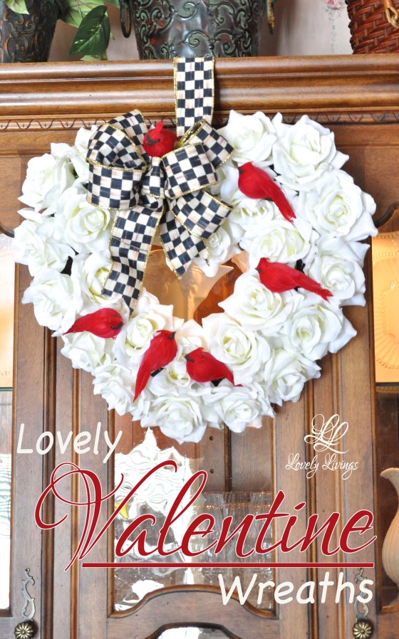 rose heart Valentine's wreath with red cardinals