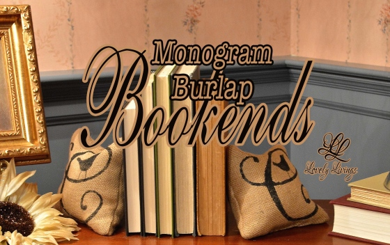 Monogram burlap bookends