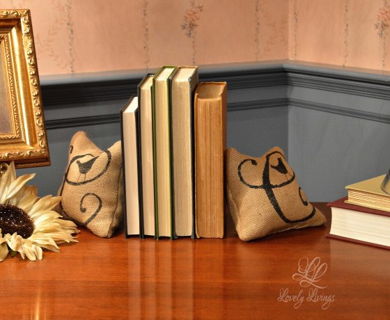 Monogrammed pillow bookends